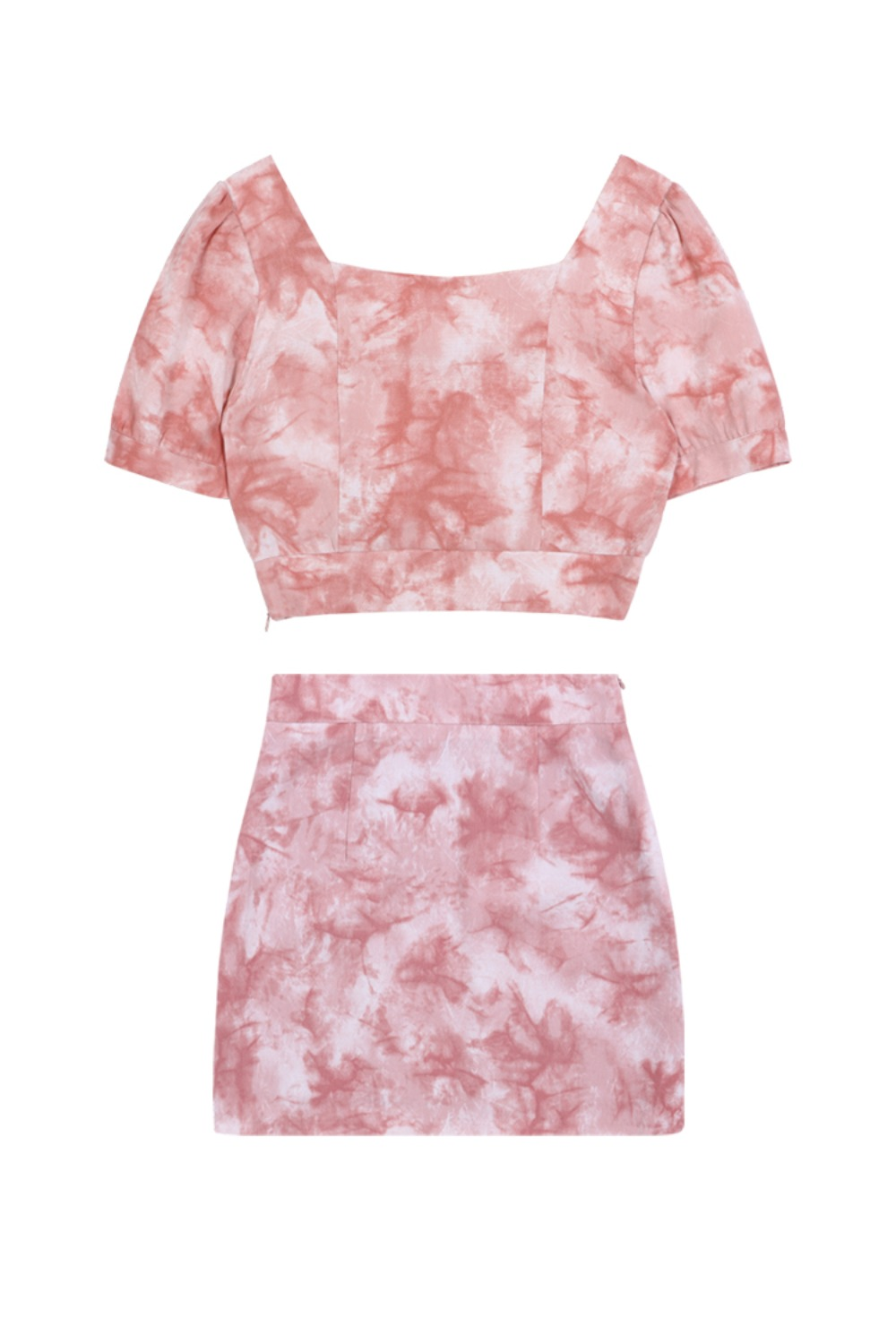 HIDE Tie Dye Crop Blouse & Skirt PINK