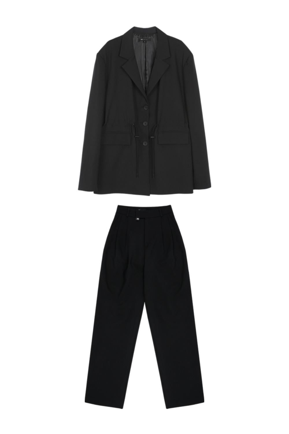 HIDE String Jacket & Pintuck Pants BLACK