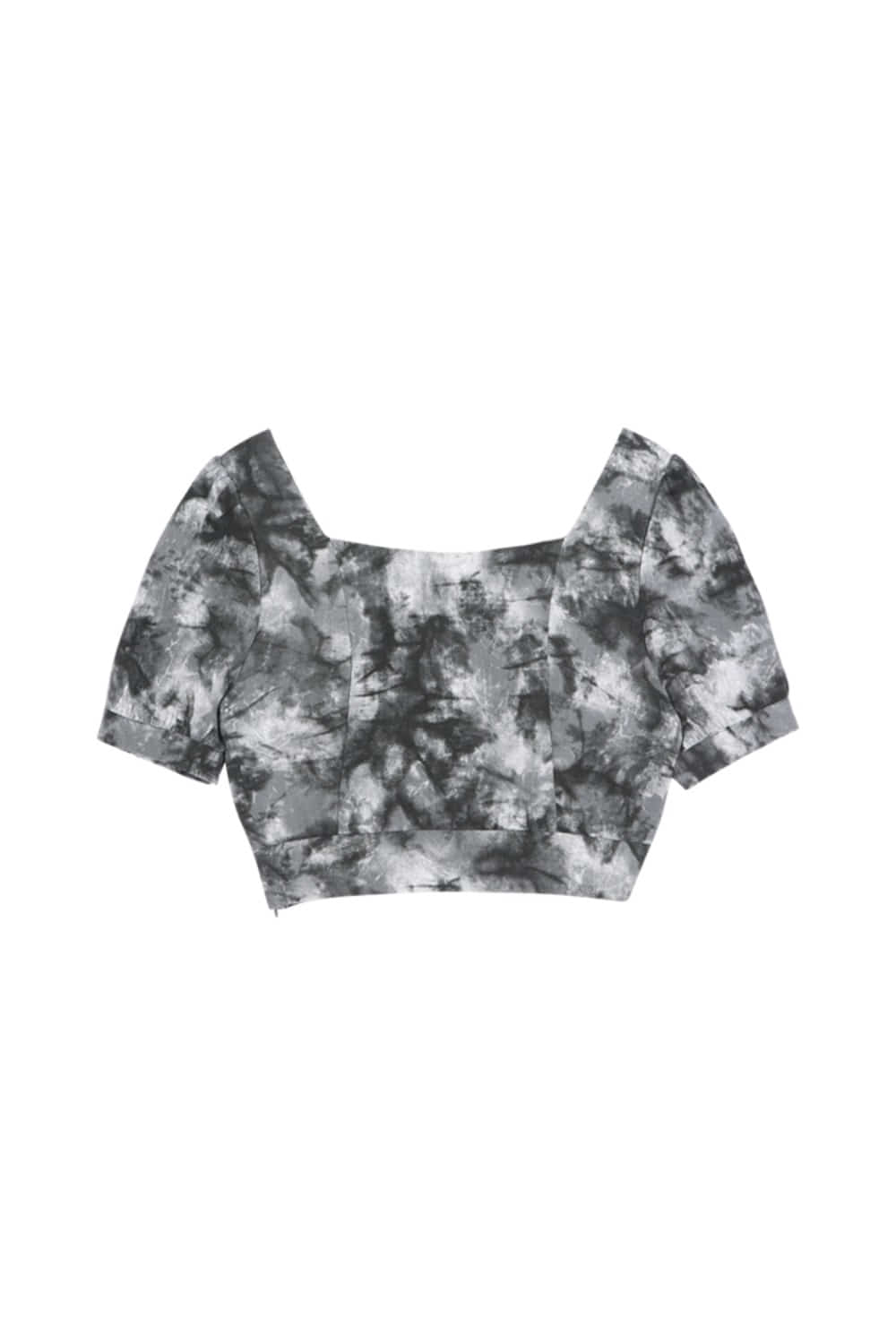 HIDE Tie Dye Crop Blouse BLACK