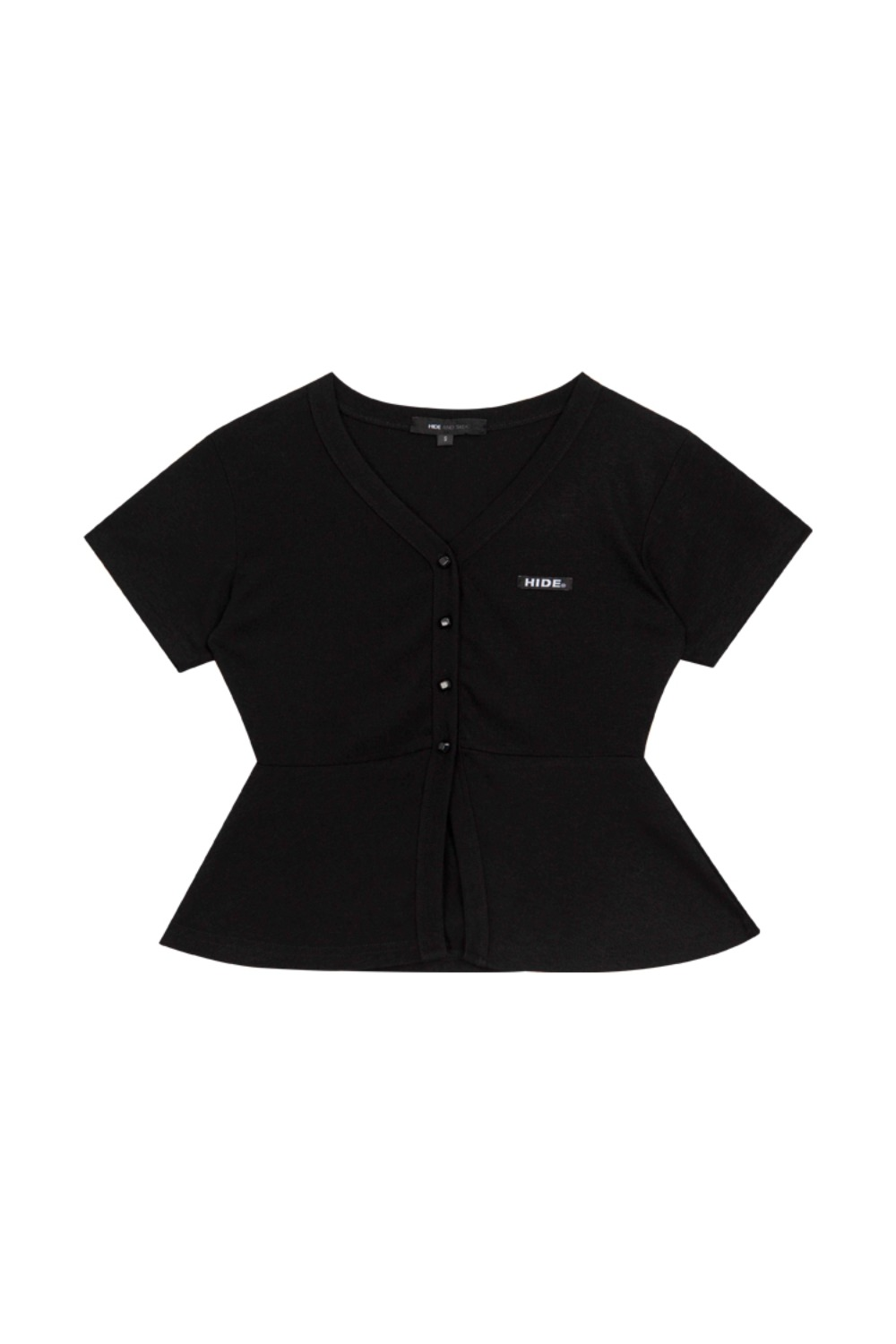 HIDE Frill Button Top BLACK