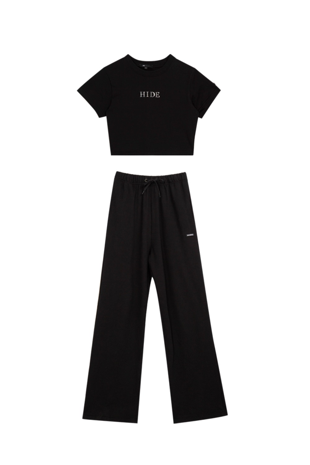 HIDE Mirror Crop Top & Wide Pants BLACK