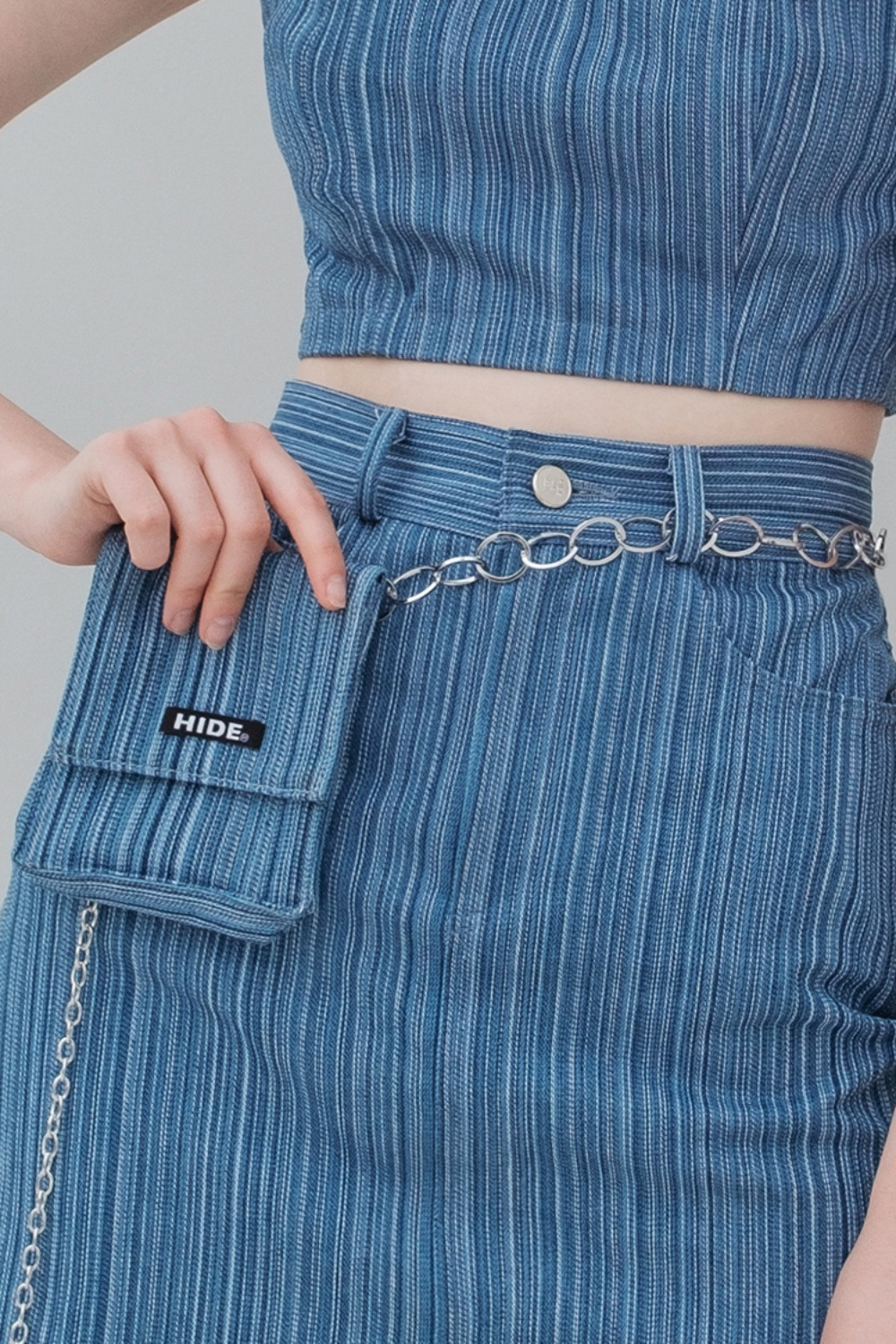 HIDE Stripe Denim Belt Bag BLUE