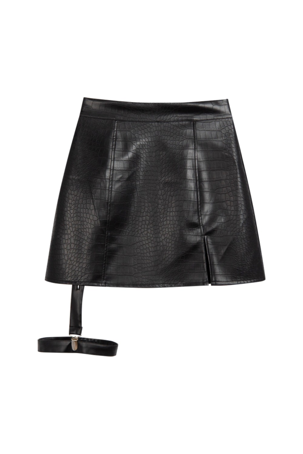 HIDE Leather Garter Skirt BLACK